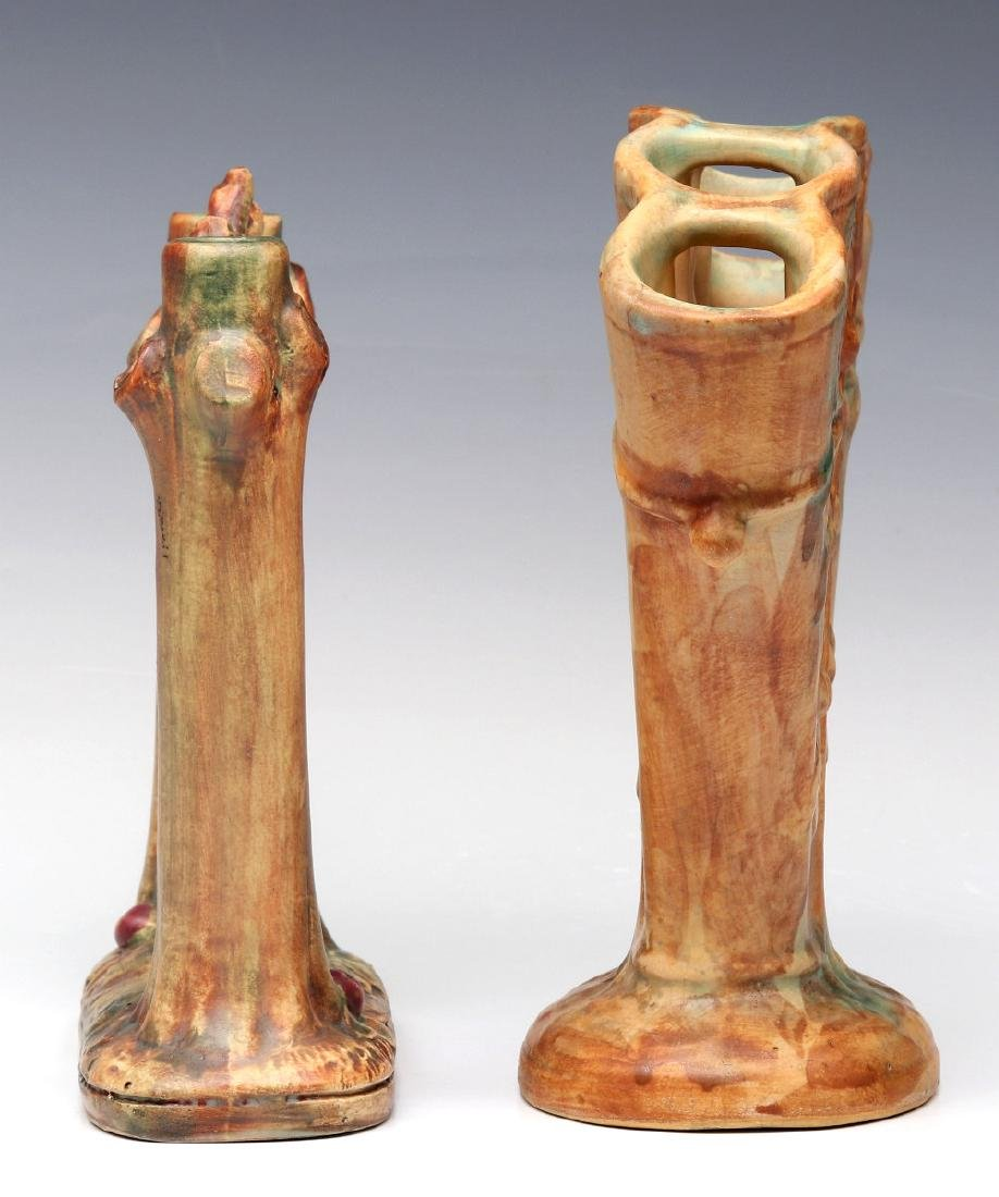 WELLER 'WOODCRAFT' POTTERY FAN VASE AND BUD VASE - 7