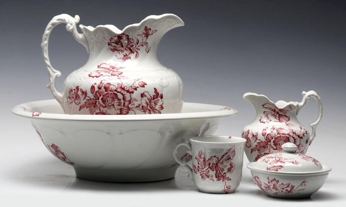 COLONIAL POTTERY RED TRANSFERWARE CHAMBER SET