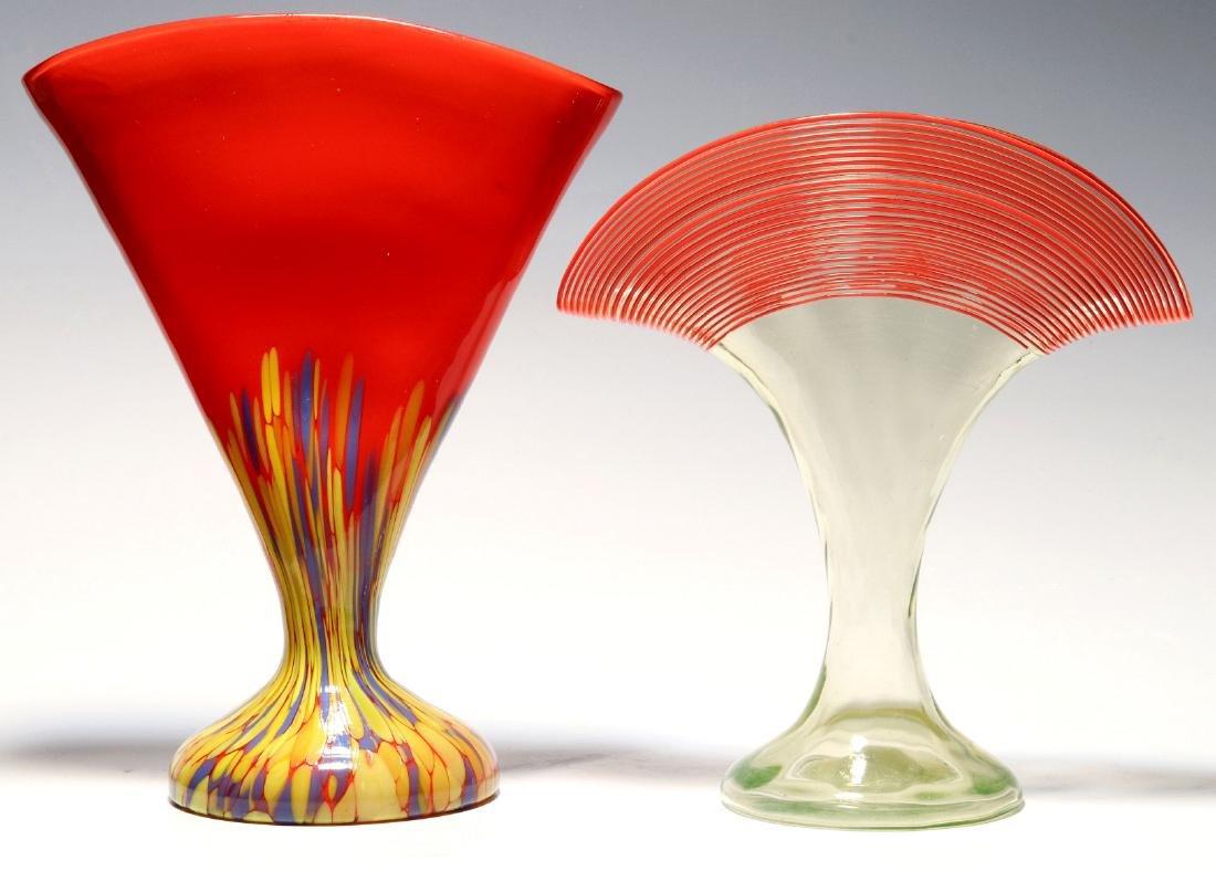 TWO CZECHOSLOVAKIAN ART GLASS FAN VASES