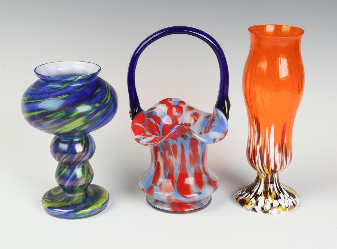 THREE UNUSUAL CZECHOSLOVAKIA ART GLASS OBJECTS