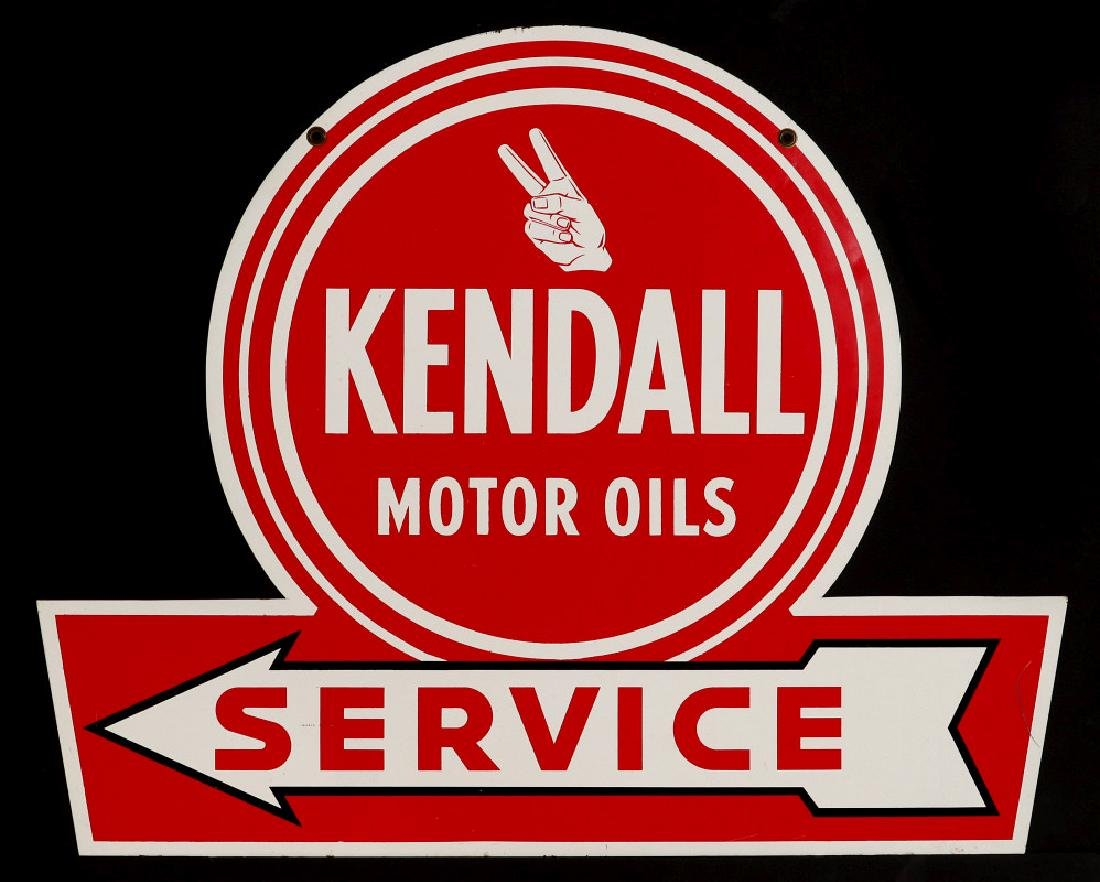A NEAR MINT KENDALL MOTOR OILS TWO-SIDED SIGN