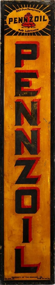 A PENNZOIL VERTICAL SELF-FRAMED TIN SIGN
