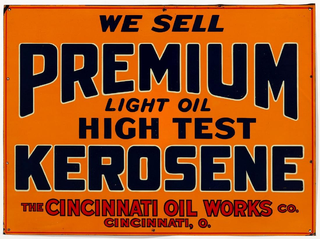 A TIN ADVERTISING SIGN FOR PREMIUM KEROSENE C 1920