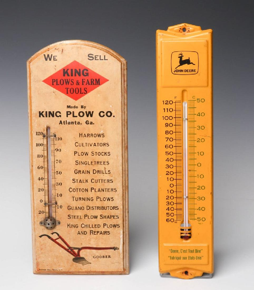 TWO FARM PRODUCTS ADVERTISING THERMOMETERS