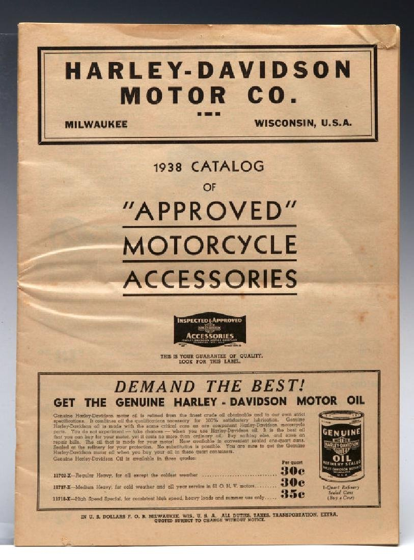 A 1938 HARLEY DAVIDSON ACCESSORIES TRADE CATALOG