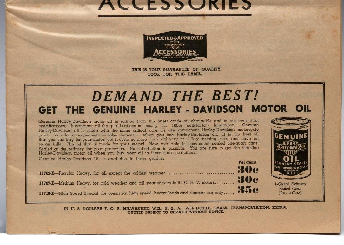A 1938 HARLEY DAVIDSON ACCESSORIES TRADE CATALOG - 4