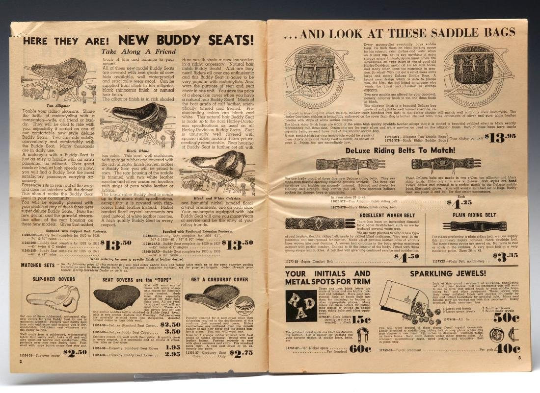A 1938 HARLEY DAVIDSON ACCESSORIES TRADE CATALOG - 6