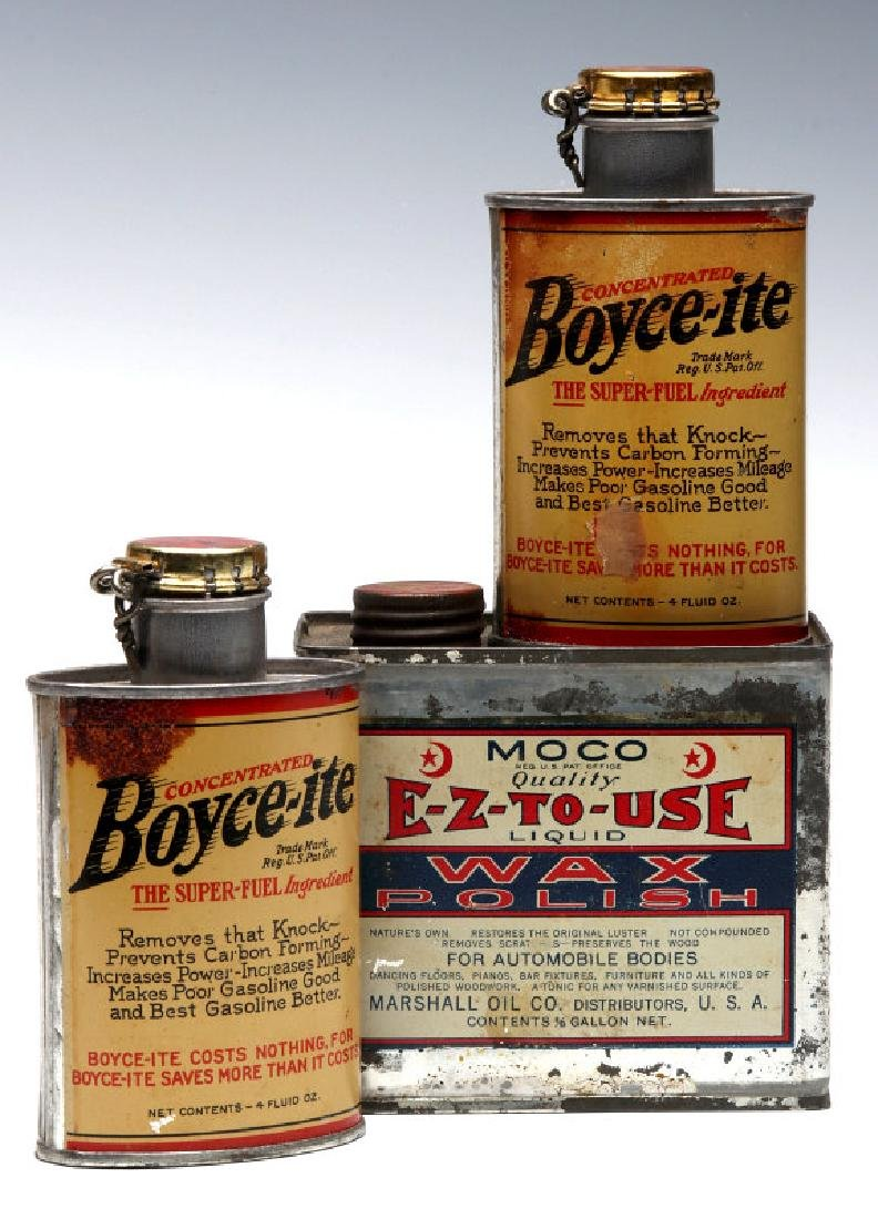 THREE VINTAGE AUTOMOBILE PRODUCT CANS