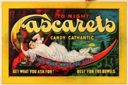A 1900 CASCARETS LITHO ON PAPER ADVERTISING SIGN