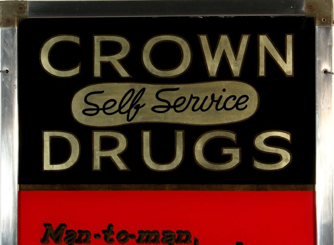CROWN DRUGS ROI-TAN CIGARS REVERSE PAINTED SIGN - 2