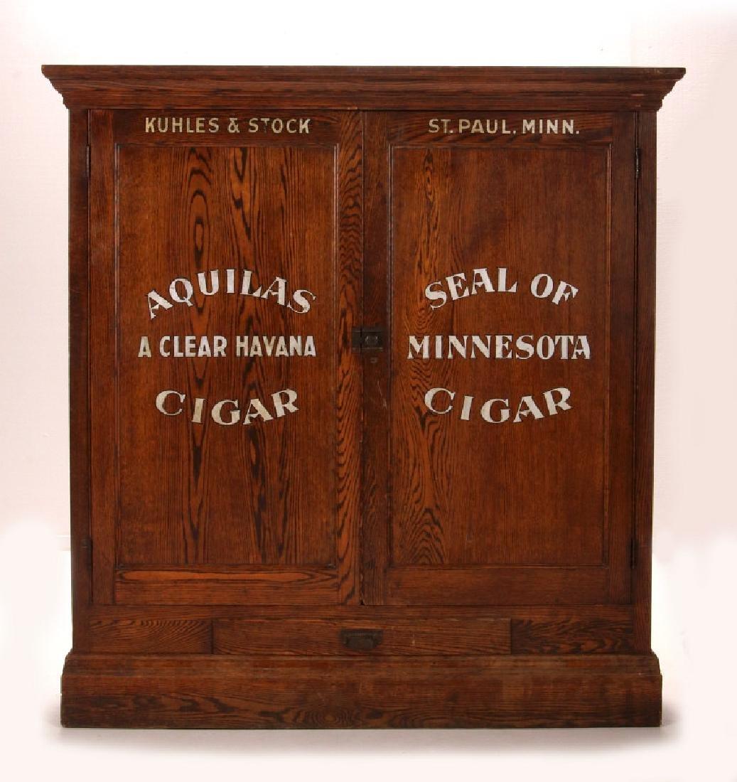 LARGE 1880 KUHLES & STOCK CIGAR ADVERTISING HUMIDOR