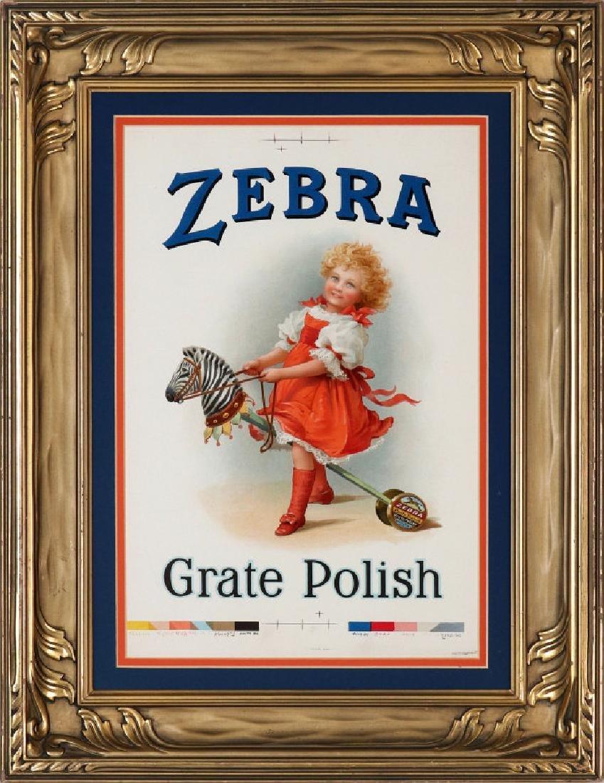 RARE ZEBRA GRATE POLISH PRINTER'S PROOF PAPER SIGN