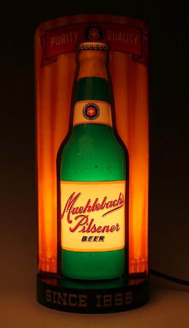 A VERY RARE MUEHLEBACH'S BEER LIGHT UP BULLET SIGN