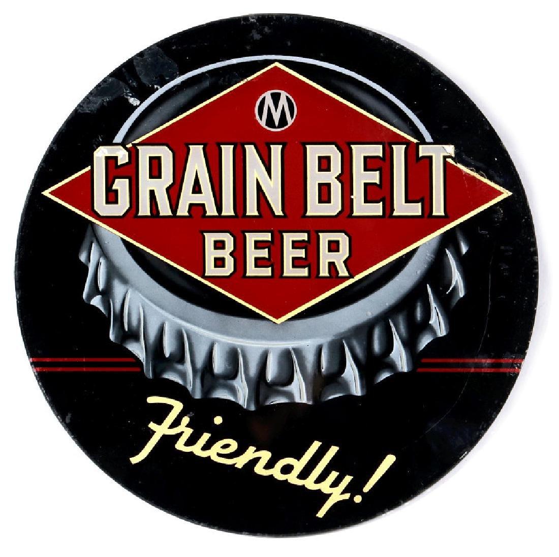 A CRCA 1940 GRAIN BELT BEER BOTTLE CAP SIGN