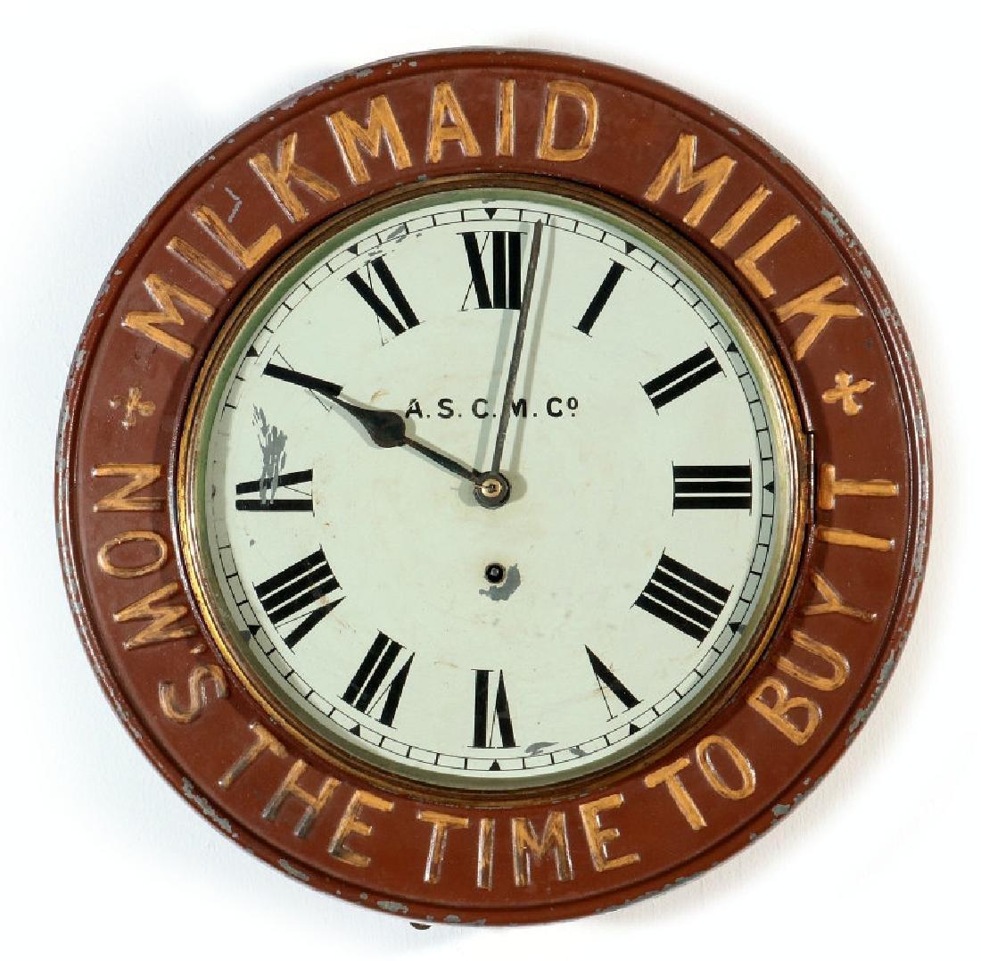 MILK MAID MILK ADVERTISING GALLERY CLOCK C. 1890