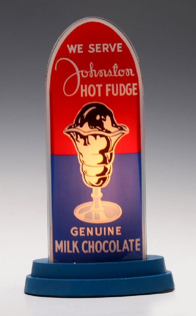 A JOHNSTON HOT FUDGE REVERSE PAINTED BULLET SIGN