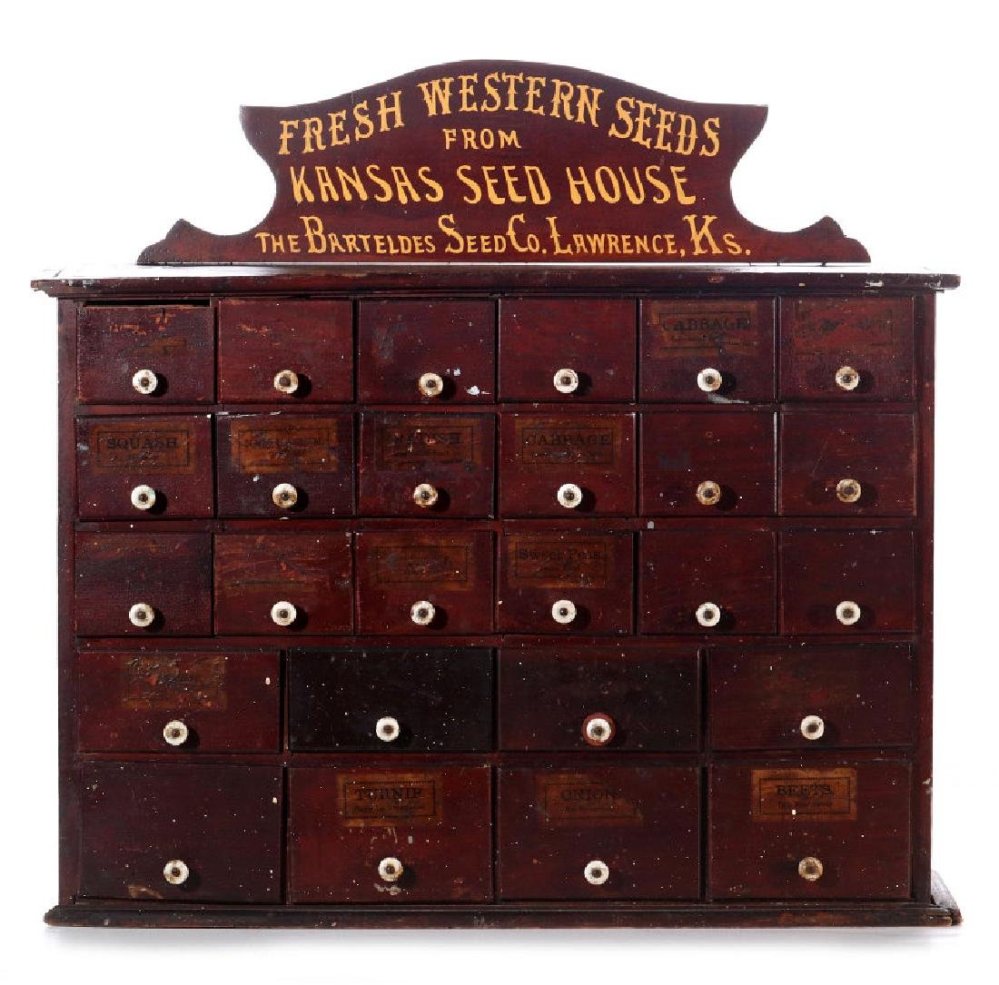 A SEVENTEEN DRAWER LAWRENCE KS SEED HOUSE CABINET