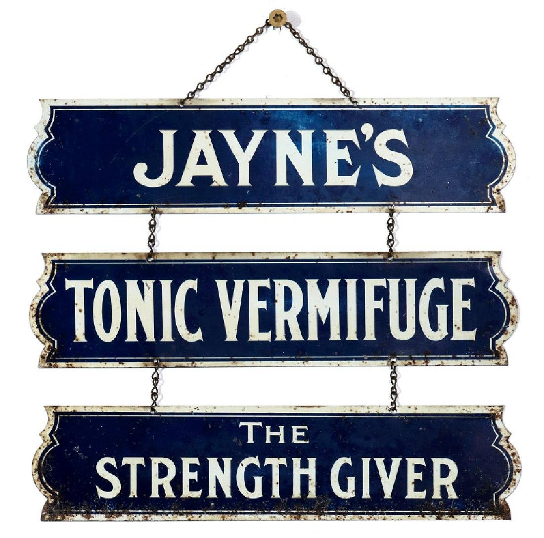 A RARE JAYNE'S TONIC SIGN - 'THE STRENGTH GIVER'