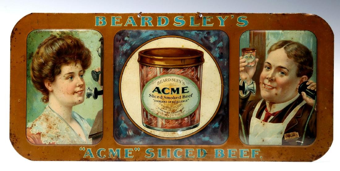 ACME SLICED BEEF SIGN WITH WOMAN PHONING GROCER