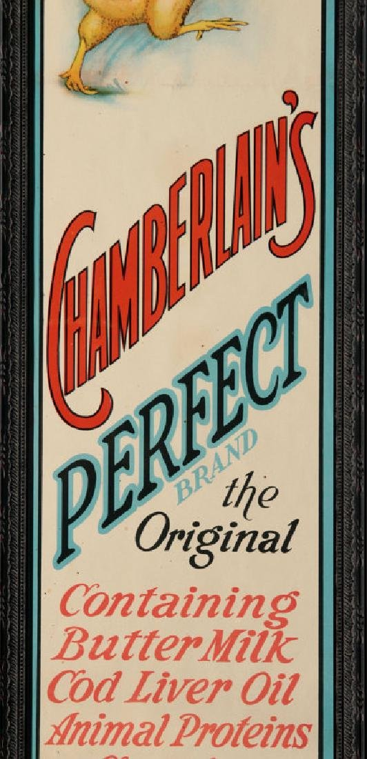 A RARE MINT CHAMBERLAIN'S CHICK STARTER PAPER SIGN