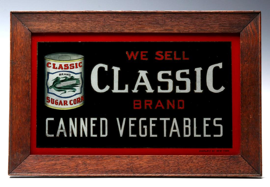 CLASSIC' BRAND VEGETABLES REVERSE PAINTED SIGN