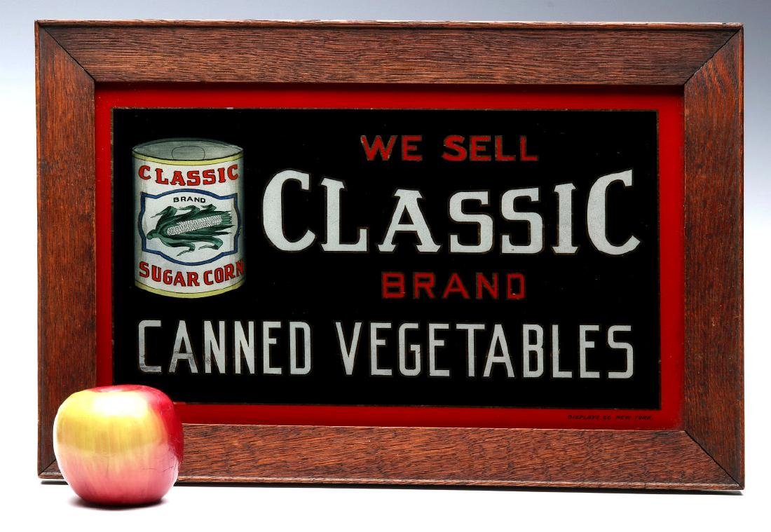 CLASSIC' BRAND VEGETABLES REVERSE PAINTED SIGN - 2