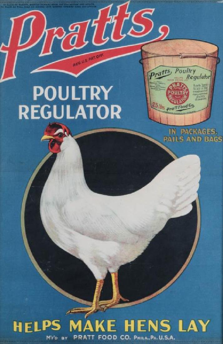 A RARE PRATTS POULTRY REGULATOR PAPER ADVTG POSTER