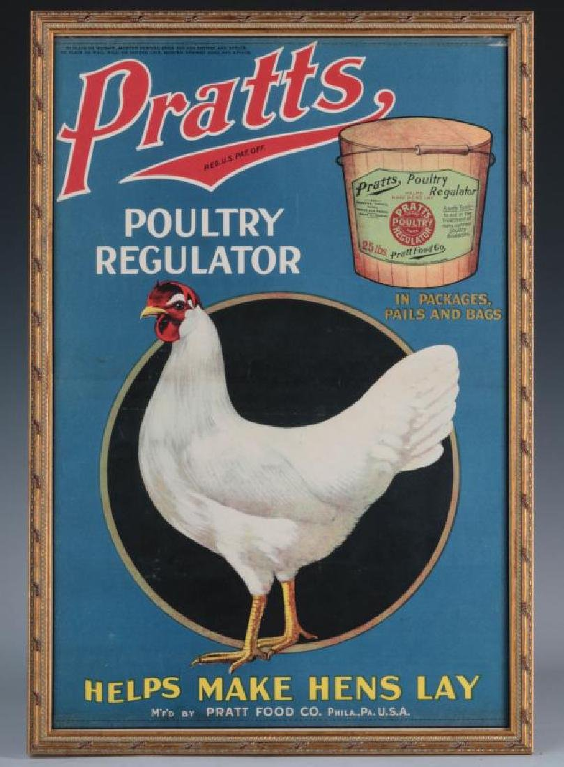 A RARE PRATTS POULTRY REGULATOR PAPER ADVTG POSTER - 2