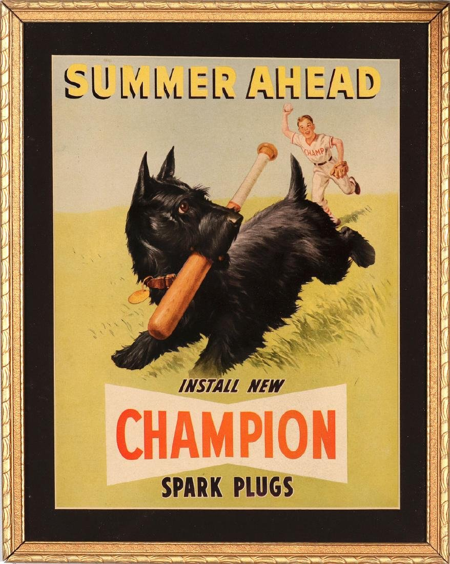 CHAMPION SPARK PLUGS PAPER POSTER WITH SCOTTIE