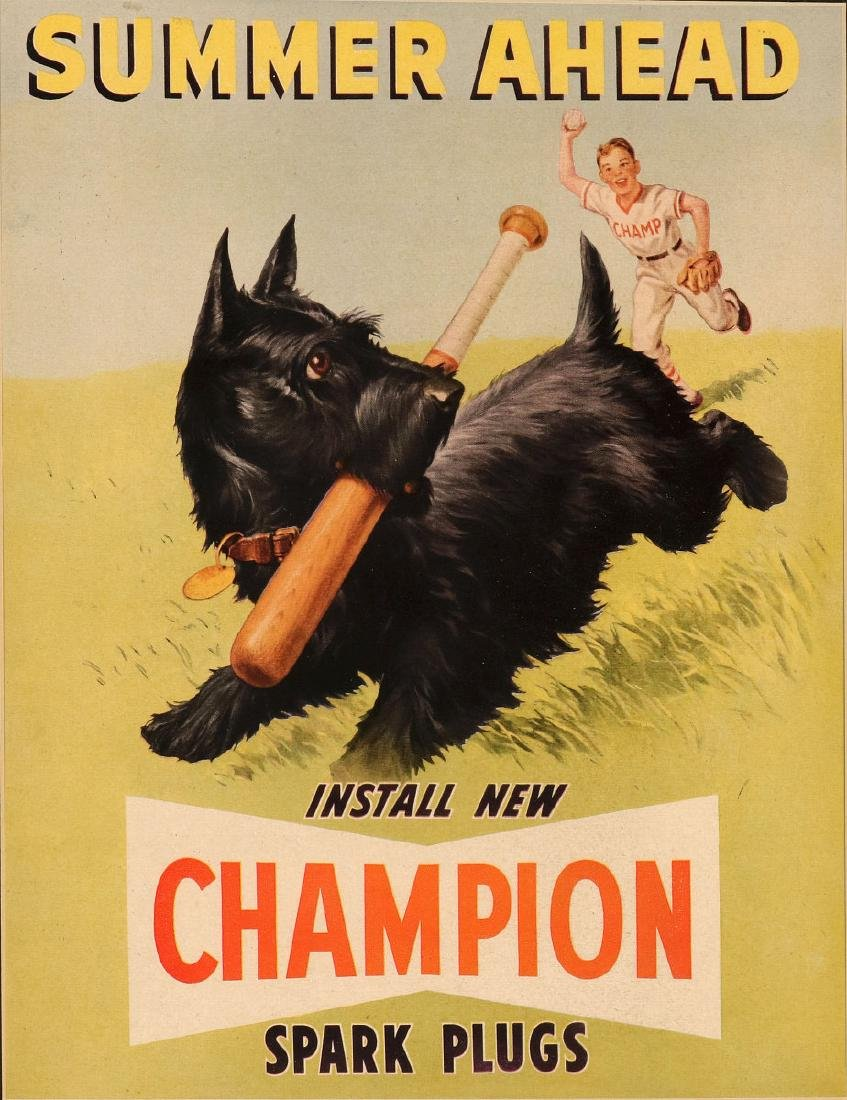 CHAMPION SPARK PLUGS PAPER POSTER WITH SCOTTIE - 6
