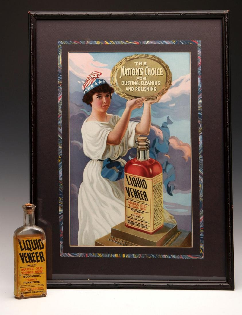 LIQUID VENEER FURNITURE POLISH SIGN AND BOTTLE
