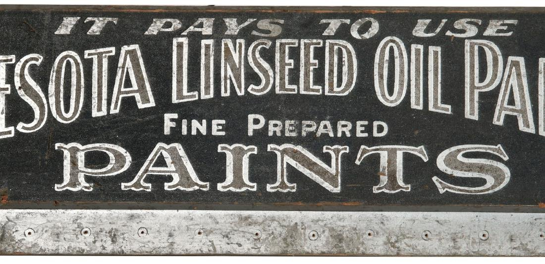 A 19TH C. SAND SURFACE SIGN, MINNESOTA LINSEED OIL