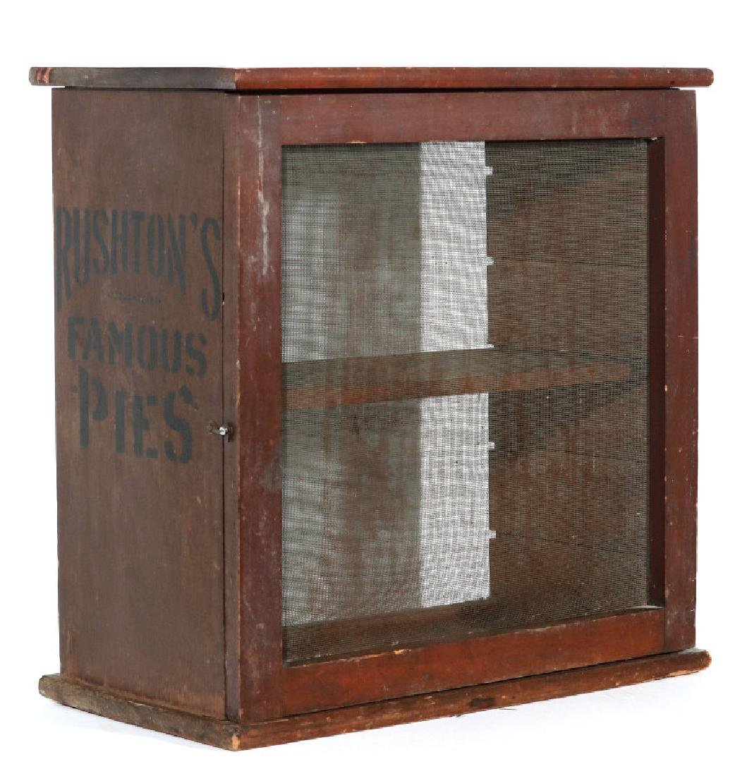 A PAINTED WOOD COUNTERTOP PIE SAFE FOR RUSHTON'S