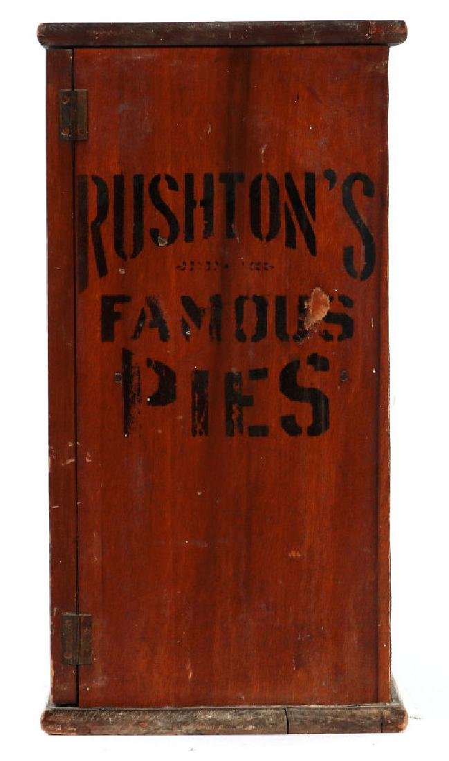 A PAINTED WOOD COUNTERTOP PIE SAFE FOR RUSHTON'S - 3