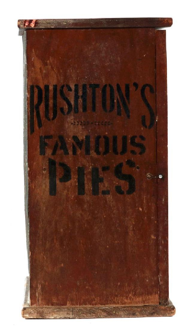 A PAINTED WOOD COUNTERTOP PIE SAFE FOR RUSHTON'S - 6