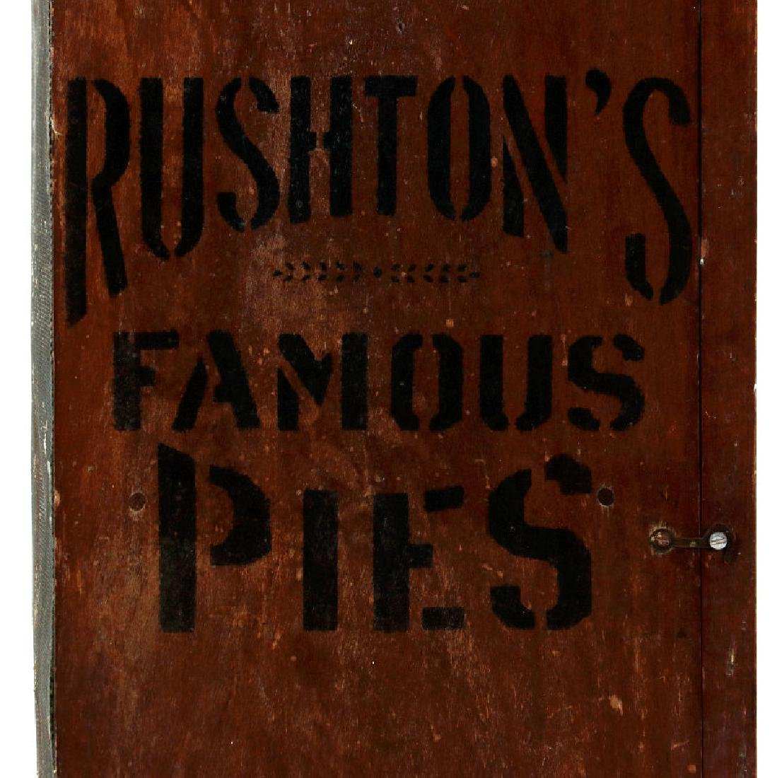 A PAINTED WOOD COUNTERTOP PIE SAFE FOR RUSHTON'S - 7