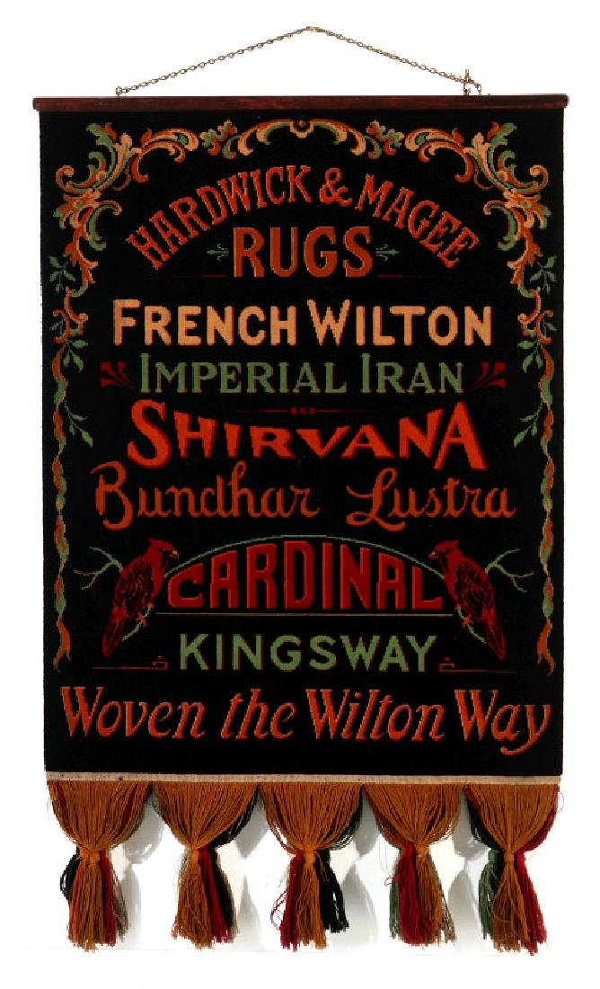 A WOVEN ADVERTISING SAMPLER HARDWICK & MAGEE RUGS