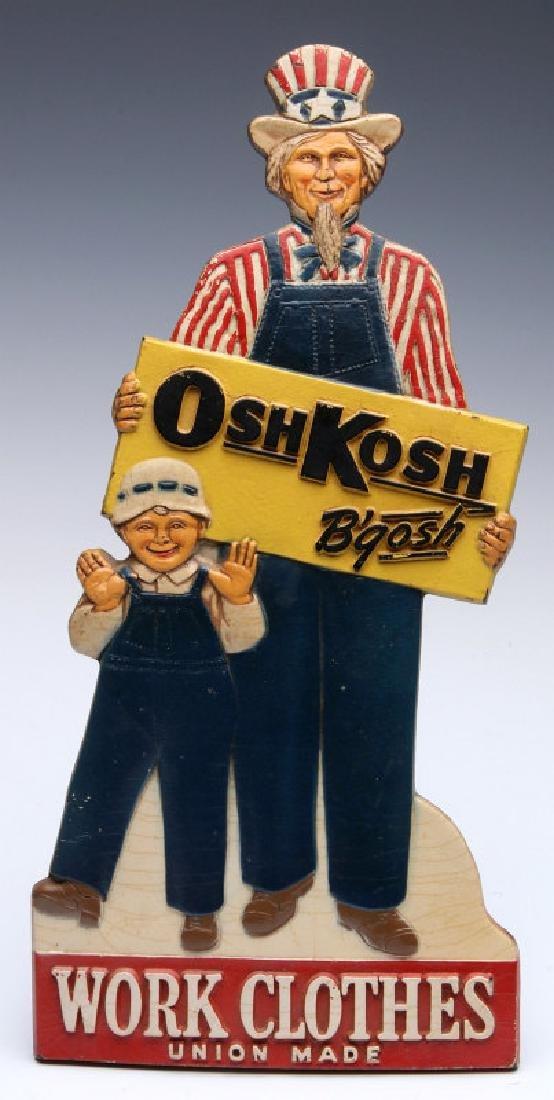 OSH KOSH WORK CLOTHES DIE-CUT FIGURAL SIGN