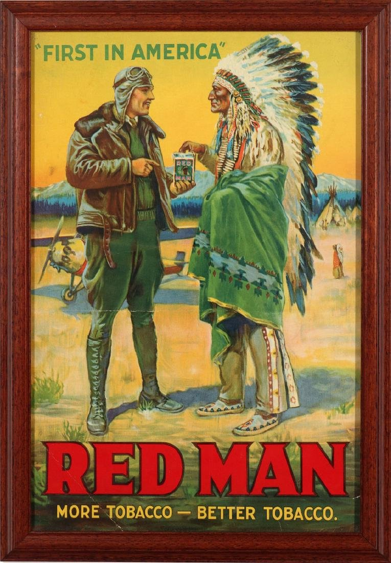RED MAN TOBACCO ADVERTISING WITH AVIATOR & INDIAN