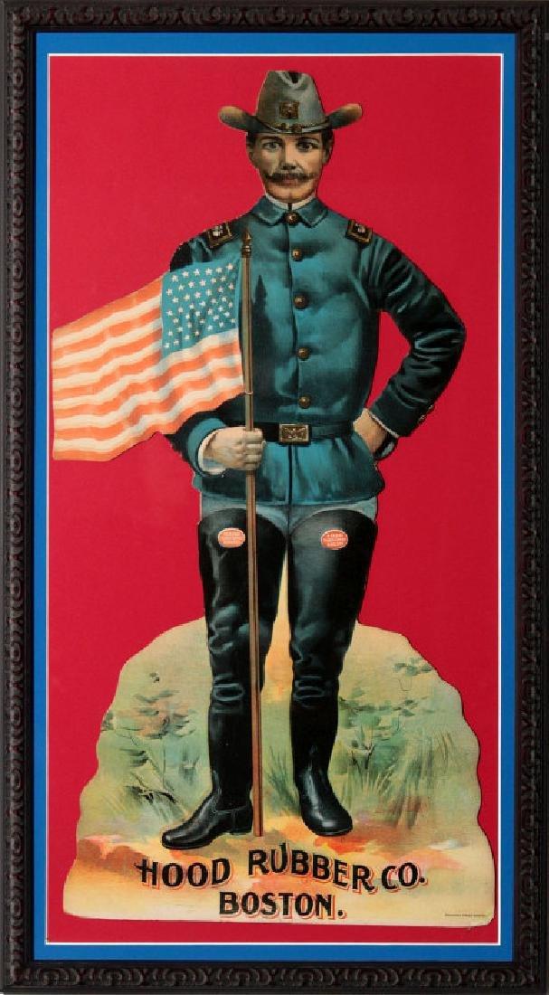 HOOD RUBBER CO DIE CUT W/ SPANISH AM WAR SOLDIER
