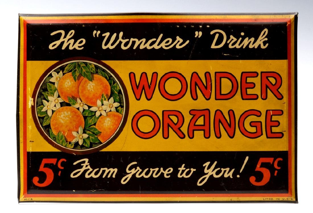 A COLORFUL TIN SIGN FOR WONDER ORANGE 5 CENTS
