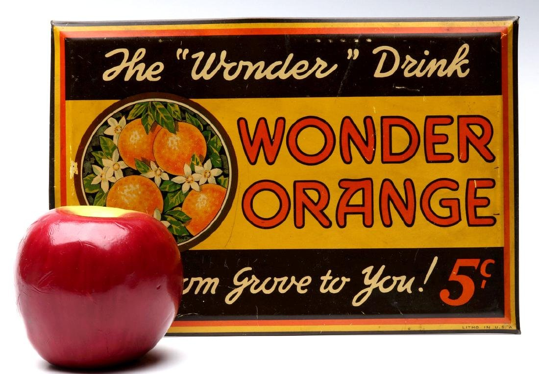 A COLORFUL TIN SIGN FOR WONDER ORANGE 5 CENTS - 2