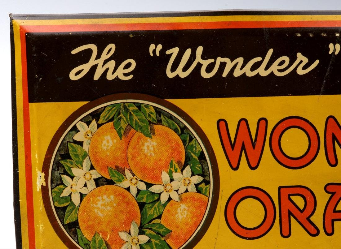 A COLORFUL TIN SIGN FOR WONDER ORANGE 5 CENTS - 3