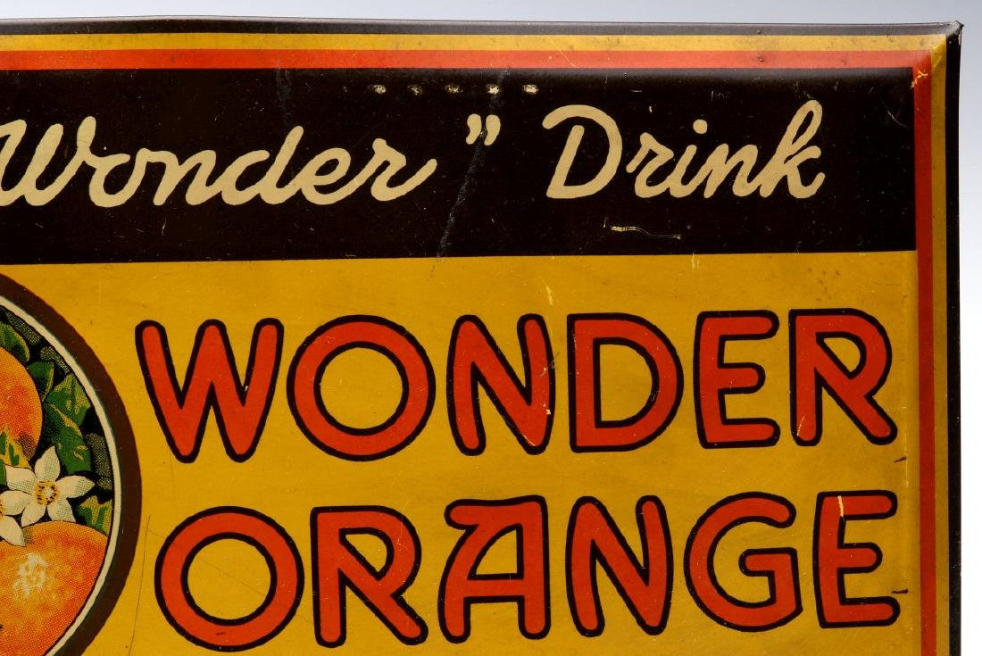 A COLORFUL TIN SIGN FOR WONDER ORANGE 5 CENTS - 4