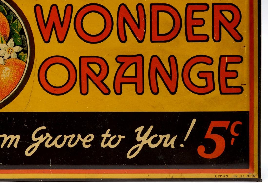 A COLORFUL TIN SIGN FOR WONDER ORANGE 5 CENTS - 5