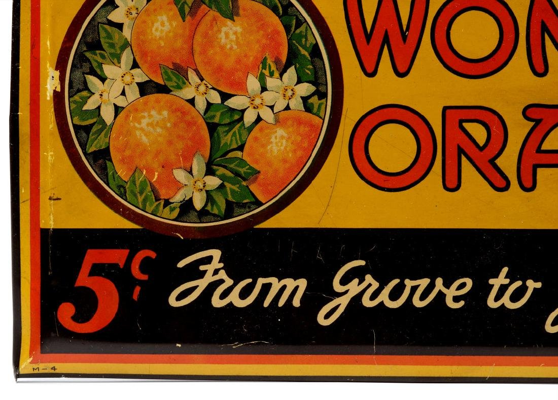 A COLORFUL TIN SIGN FOR WONDER ORANGE 5 CENTS - 6