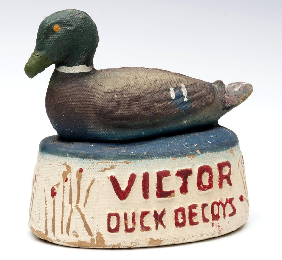 A RARE VICTOR DUCK DECOYS ADVERTISING DISPLAY