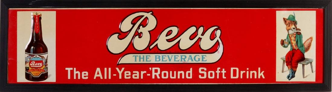 A NEAR MINT EMBOSSED TIN SIGN FOR BEVO BEVERAGE