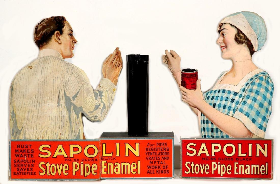 DIE-CUT SAPOLIN PIPE ENAMEL DISPLAY W/ STOVE PIPE