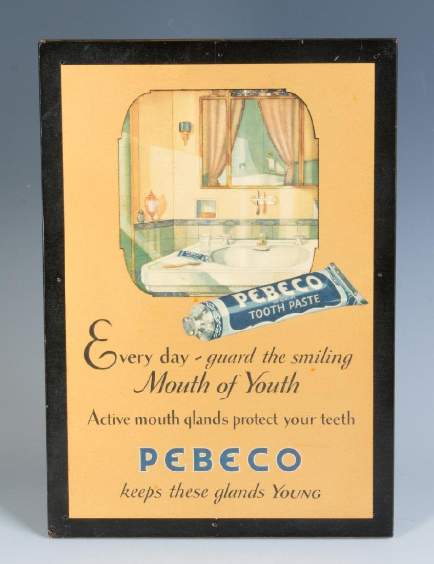 A PEBECO TOOTHPASTE ADVERTISING SIGN CIRCA 1920s